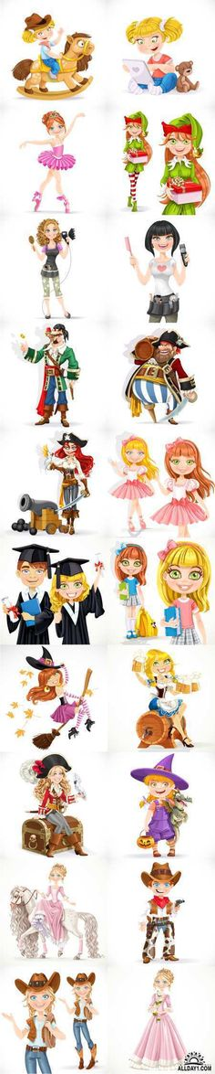 Cartoon characters |  Cartoon Characters: prince, princess, girl, pirate, cowboy, animals - 65x EPS