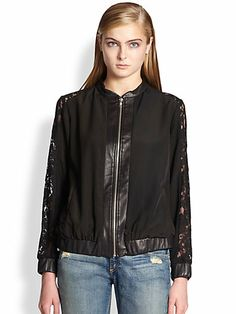PJK Patterson J. Kincaid - Gretta Leather & Lace-Trimmed Bomber Jacket - Saks.com
