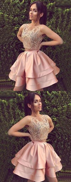 Cute round neck lace pink short prom dress, pink cute homecoming dresses