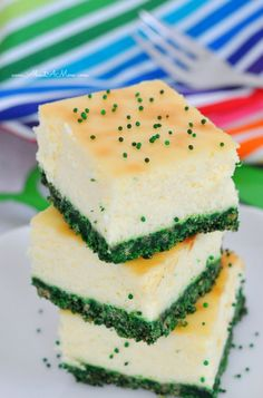 Green Velvet Cheesecake Bars are oh-so festive and a yummy treat for St. Patrick's Day!