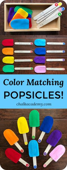 Color matching popsicles are a fun way for kids to learn about colors! Here are… Color matching popsicles are a fun way for kids to learn about colors! Here are DIY tips and Montessori-inspired advice for teaching colors! Toddlers And Preschoolers, Diy Montessori, Montessori Activities, Montessori Color, Montessori Elementary, Montessori Materials, Preschool Colors, Teaching Colors, Teaching Toddlers Colors