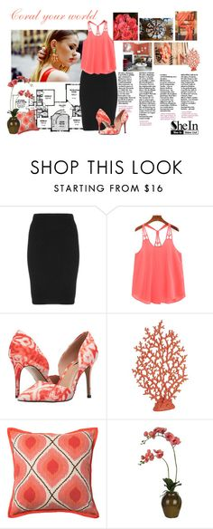 """""""Coral your world She in"""" by divaivana ❤ liked on Polyvore featuring Lab, Manon Baptiste, Lust For Life, Mustard Seed, Pier 1 Imports, Loloi Rugs and Sia"""