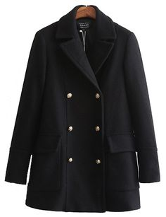 #fashion #accessories Classic Double Breasted Flap Pocket Wool Coat in Black   Black by Moda Tendone - WoolCoat Black, Clothes, Fashionable, Women, WoolCoat