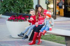 Matching in Red Tall Hunter Boots, Hunter Boots Outfit, Cute Christmas Sweater, Grey Jeans, Denim Top, More Cute, Red Sweaters, Yellow Dress, Get Dressed