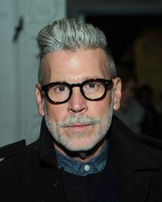 Nick Wooster Photos - Nick Wooster attends the N. Hoolywood - Mercedes-Benz Fashion Week Spring 2015 at Hudson Mercantile on September 2014 in New York City. Nick Wooster, Mature Mens Fashion, Grey Hair Men, Michael Bastian, Most Stylish Men, Short Beard, Mens Glasses, Gentleman Style, Beard Styles