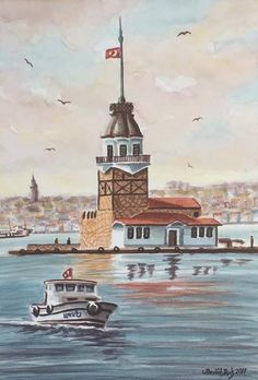 Istanbul City, Istanbul Turkey, Pebble Painting, Stone Painting, Boat Lights, Color Poem, Lighthouse Painting, Turkish Army, Hagia Sophia