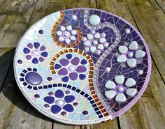 Glass mosaic purple white and gold dish