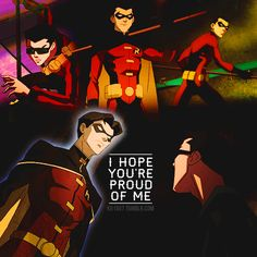 "Tim Drake, Jason Todd. Young Justice.  ""I hope you're proud of me."""
