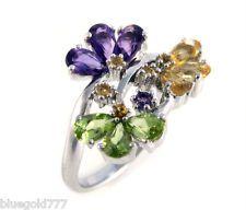 925 Sterling Silver Citrine, Peridot & Amethyst Gemstone Ring.... I WANT!