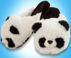 My Pillow Pets Panda Slippers Large by My Pillow Pets. $22.99. Textured dot grip bottom. Soft and comfortable fit. Polyester fiber construction. Fits up to a womens size 9. Officially licensed My Pillow Pet product. Brand new in plastic bag packaging Machine wash on gentle cold cycle,Air dry only recommended
