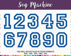 SVG sport numbers - Varsity Block Number – College Numbers Font File - dxf eps png jpg - files for Silhouette Cameo Cricut - Sporty Numbers Block Letter Fonts, Block Lettering, Hand Lettering, Cricut Fonts, Svg Files For Cricut, Label Shapes, Iron On Letters, Free Svg Cut Files, Vinyl Shirts