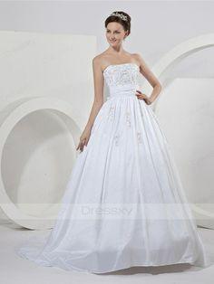 Dazzling A-line Strapless Court Train Taffeta Wedding Dress
