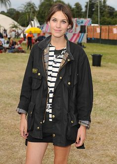 Alexa Chung in a Barbour. My mum has been wearing these for years & the fashion pack has finally caught up...