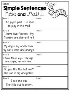 READ and DRAW! Read the SIMPLE sentences and draw a picture to match! A formative assessment to see how much students understand or self-monitor their understanding of unknown words in texts. Reading Comprehension Worksheets, Reading Fluency, Reading Intervention, Reading Strategies, Reading Activities, Teaching Reading, Guided Reading, Reading Art, Comprehension Strategies