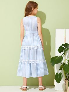 Product name: Girls Slit Knot Back Stripe Shell Top & Shorts Set at SHEIN, Category: Girls Two-piece Outfits Frocks For Girls, Little Girl Dresses, Girls Dresses, Kids Dress Wear, Baby Dress, Houndstooth Dress, Striped Dress, Cord Pinafore Dress, Iranian Women Fashion