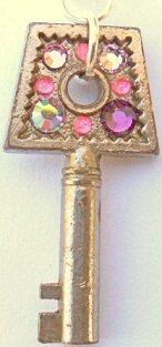 Vintage Key Necklace w/ Swarovski Crystals And Acrylic Gems by CrashsCuriosities, $20.00