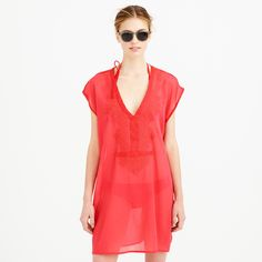 Beach tunic in embroidered gauze - tops & dresses -Women- J.Crew