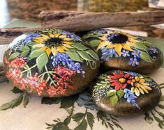 Painted Rock, Fall Colors, Sunflower Rock, California Beach Rock, Fall Gift Idea, Hand Painted Rock Art