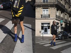 Oversized Hoodie and Patent Leather Skirt in Paris | Song of Style