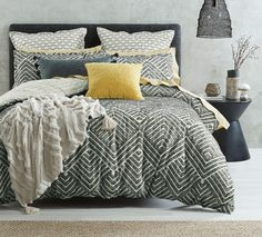 Inspire a new, modern look in your bedroom with the Takoda quilt cover. Constructed from natural cotton, this contemporary geometric pattern is expressed through a clipped jacquard weave for a distinctive look. Bedroom Retreat, Bedroom Inspo, Bedroom Ideas, Geometric Quilt, Geometric Patterns, Hotel Bedroom Design, Single Quilt, Bed Linen Design, Queen Quilt