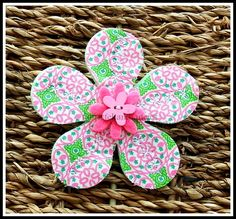 Retro Felt and Fabric Flower Brooch. £4.95