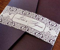royal purple customized belly band with vintage lace border on pocket folder b| Invitations by Ajalon | invitationsbyajalon.com