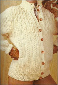 MODÈLES POUR FEMMES Cream Cardigan, Cable Knit, Men Sweater, Knitting, Grey, Crochet, Sweaters, Vintage, Fashion