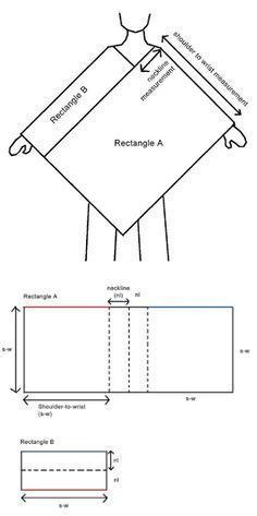 Universal poncho diagram - The simplest construction method. If you can make a rectangle, you can make this. ✿Teresa Restegui http://www.pinterest.com/teretegui/✿