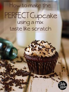 Perfect Cupcake Recipe using a mix is my all time favorite, go to recipe for cupcakes. You can use this trick to make a box cake mix taste like scratch. Perfect Cupcake Recipe, Cupcake Recipes, Cupcake Cakes, Dessert Recipes, Cupcake Mix, Cupcake Ideas, Cup Cakes, Rose Cupcake, Picnic Recipes