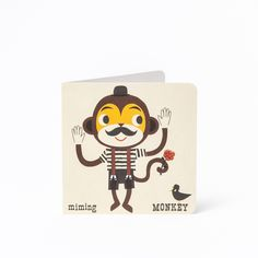 Miming Monkey A-Z Card £2.50. From Acrobatic Ant to Weightlifting Walrus, inspired by retro learning flash cards, Kay Vincent's astonishing alphabetical animal cards will be sure to bring back your treasured childhood memories.