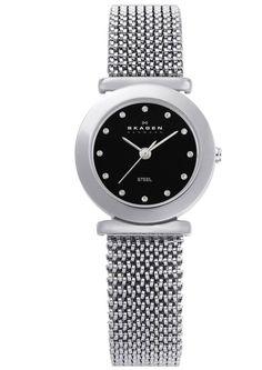Skagen Ladies Black Dial Stretch Mesh Watch 107SSSB1