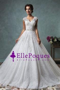 2016 V Neck A Line Beaded Waistline Wedding Dresses Lace With Applique US$ 279.99 EQPXZ8PC9M - ellepoques.com for mobile