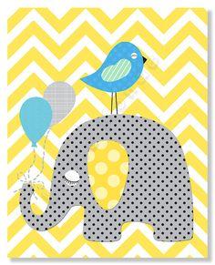 Baby Boy Nursery Prints Nursery Wall Decor Chevron by LittleMonde