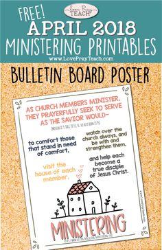 "Free Relief Society ""Ministering"" bulletin board poster www.LovePrayTeach.com"
