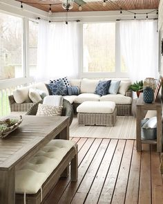 -Wyatt Outdoor Sectional—Arhaus Built for relaxation – The Wyatt Outdoor Living Collection features deep and comfortable seating that encourages lounging in the sun. Decor, Furniture, House, Home, Sunroom Decorating, Porch Furniture, Screened In Porch Furniture, New Homes, Interior Design