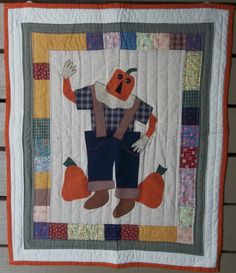 Pumpkin Scarecrow Quilt Wall Hanging  Fall by MountainMommaDesigns, $35.00