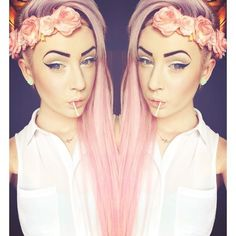 to dye for, pastel pink hair and flower crown headband