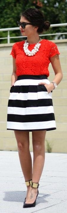 Striped Skirt + Red Lace Top ( maybe not this top but skirt is cute) Would like to try an outfit with a chunky necklace.