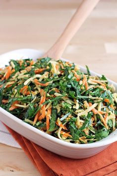 Collard Green Coleslaw: a colorful side dish for the holidays (raw, vegan).