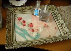 hankies in a vintage frame can make a vanity tray. find hankies @ Nanalulus Linens and Handkerchiefs