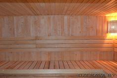 Поперечный полок в бане. Pink sauna