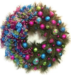 """SOLD!  RESERVED FOR THERESA 30"""" Bright Beautiful Teal Blue, Hot Pink & Lime Green Shatterproof Wreath INDOOR or OUTDOOR by SandyNewhartDesigns, $249.00"""