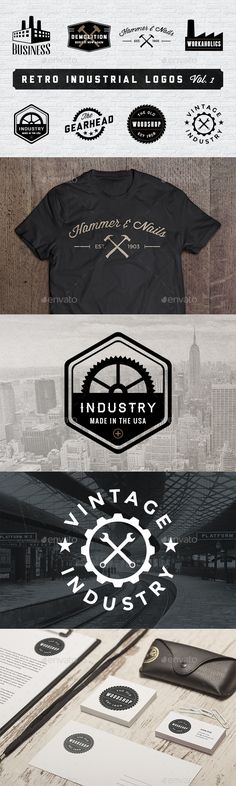 Retro Industrial Logos - Volume 1 includes eight handmade logos that would be perfect for websites, business cards, clothing, posters, and so much more. Typography Logo, Logo Branding, Branding Design, Garage Logo, Gear Logo, Industry Logo, Industrial, Personal Logo, Business Logo