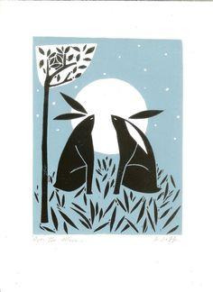 Hares Linocut Lino Print Rabbits and the by The Bluebird Gallery - Giuliana Lazzerini