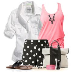 Color Combo 6: Black, Pink & White, created by tufootballmom on Polyvore