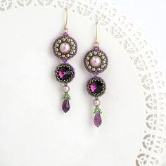 Purple Earrings Long Drop Gold Bridal