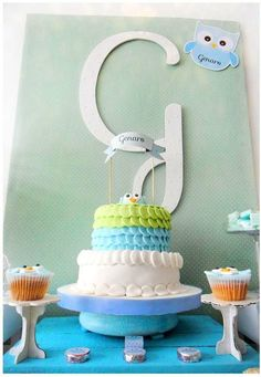 Owl baptism party cake!  See more party planning ideas at CatchMyParty.com!