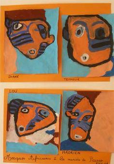 Masques africains à la manière de Picasso.