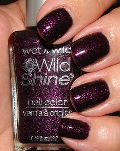 Night Prowl by Wet and Wild. This one I saw and I immediately snapped it up. Its a sheer dark base with pretty dark magenta-purplish glitter.