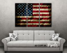 American flag wall art, american flag print, Vintage american flag canvas, USA flag canvas, large wall art, 3 panel canvas, US Constitution
